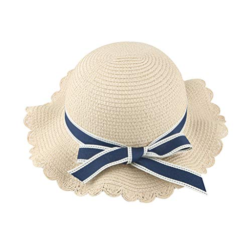 Cuekondy Toddler Baby Girls Kids Straw Sun Hat Bow Ribbons Wide Brim Summer Outdoor Travel Beach Sun Protection Hat(Beige,50-54cm(2-8 Years old))