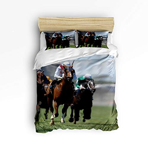 t Cover Set Twill Plush Soft Bedding Sets,Cool Pictures of Horse Racing Racesports Comforter Cover Sets for Kids Adults,Include 1 Comforter Cover and 2 Pillow Shams,Twin Size ()