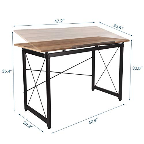 47'' Adjustable Drafting Table - Art and Craft Drawing Folding Desk - Reading & Writing Work Station (Yellow) by Elevens (Image #2)
