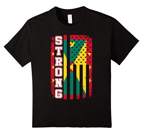 Kids Grenada strong live in USA T-Shirt 4 Black (Grenadians On Halloween)