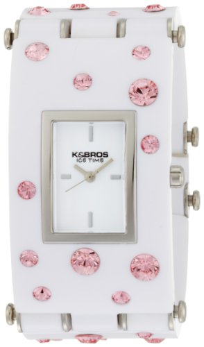- K&BROS Women's 9530-1 Ice-Time Galassia Pink Crystal Accented White Watch