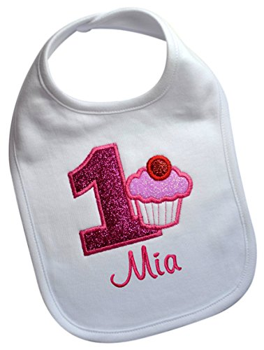 (Handmade Embroidered Baby GIRL'S First Birthday SPARKLING CUPCAKE Year One Smash Bib with Custom Name (WHITE BIB))