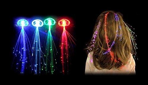 Ensemble de 3, 6, 10, 80fibres optiques LED, éclairage par fibre, bleu, arc-en-ciel, rouge, vert, blanc, barrette à cheveux pour les fêtes 80fibres optiques LED éclairage par fibre NEO+