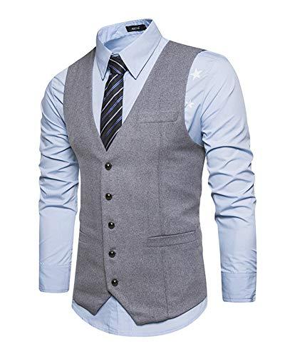 Elégant Homme Costume Fit Veste Gilet Gris Business Mariage Slim Sans Manche zHUBAzq