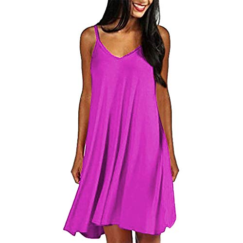 Women Spaghetti Strap Midi Dress Sexy Summer Solid Mini Beach Sundress Casual Plain Swing Plus Size Holiday Dress Hot Pink