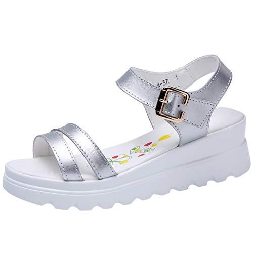 (Women's Platform Casual Ankle Strap Sandals,Sunmoot Buckle Strap Wedge Summer Espadrilles Open Toe Slingback Peep Toe Shoes Sandal)