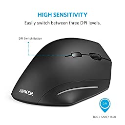 Wireless Mouse, Anker Ergonomic USB 2.4G Wireless Vertical Mouse with 3 Adjustable DPI Levels 800 / 1200 / 1600 and Side Controls, Black