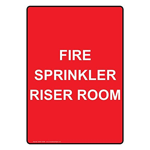 metal Signs Vertical Aluminum Fire Sprinkler Riser Room Sign, 18 X 3 in. with English Text, Red
