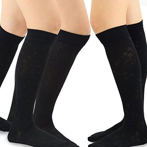 TeeHee Cotton Fashion Compression Socks - Comfort, Soft, Relieve Leg Fatigue Knee High,Fashion- Black, Medium