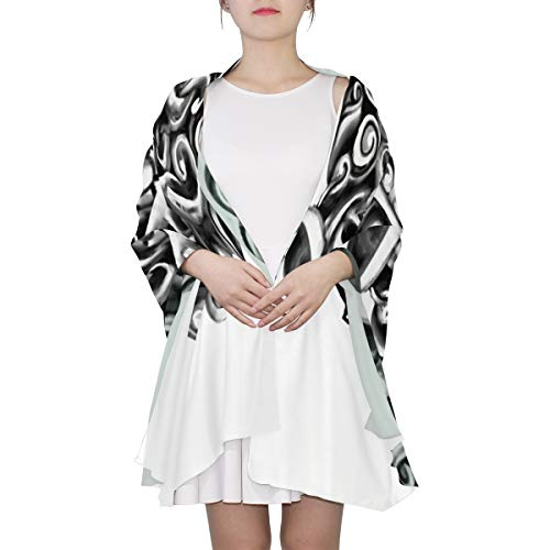 - Animal Black And White Pattern Unique Fashion Scarf For Women Lightweight Fashion Fall Winter Print Scarves Shawl Wraps Gifts For Early Spring