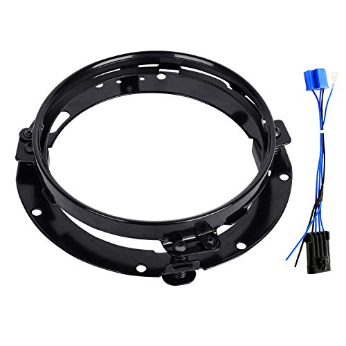 - AAIWA Headlight Ring 7 Inch Round Mounting Bracket, Motorcycle Headlight Mount with Headlight Adapter Wire Harness for Headlamp