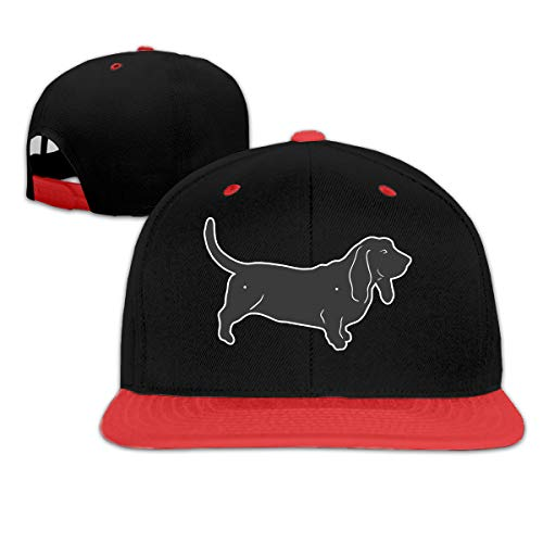Basset Hound Silhouette Adjustable Hat Baseball Cap Red