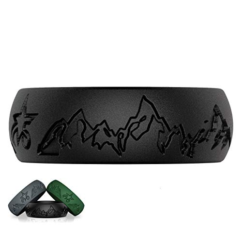 5starzz Premium Quality Fashion Silicone Wedding Ring for Men and Women, Rubber Wedding Band, Practical and Beautiful Mountains Design Inspired by Nature, 8 or 6 mm Wide, Comes in a Gift Box