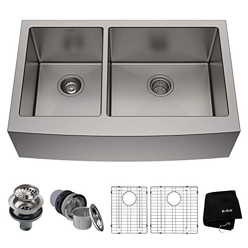 Kraus KHF204-33 33 inch Farmhouse Apron 60/40 Double Bowl 16 gauge Stainless Steel Kitchen Sink (Bowl Double Sink)