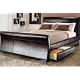 5ft king size leather sleigh bed with storage 4X drawers Brown by Limitless Base