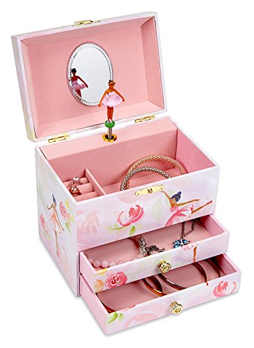 Jewelkeeper Ballerina And Roses Girls Musical Jewelry Box  2 Pullout Drawers  Swan Lake Tune