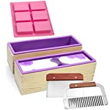 Silicone soap molds kit - 2 Pcs Flexible Rectangular Soap Silicone Mold with Wood Box, Stainless Steel Wavy & Straight Scraper for Soaps Making (molds- C)