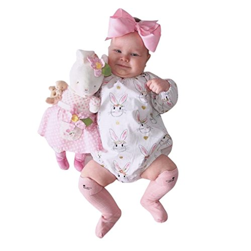 Woaills 0-24M Infant Romper Clothes,Baby Girls Easter Cartoon Rabbit Print Jumpsuit Playsuit (6M, Pink) (Easter Clothes For Kids)