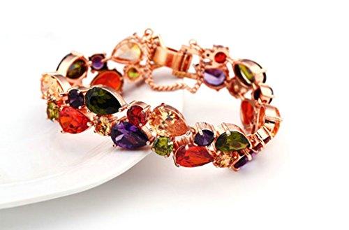 AnaZoz Bijoux de mode jeux de bijoux de femmes plaqué or rose AAA Cubic Zirconia Multicolor Collier Boucles d'oreilles et bracelet trois pièces jeux de bijoux Couleur Multicolore