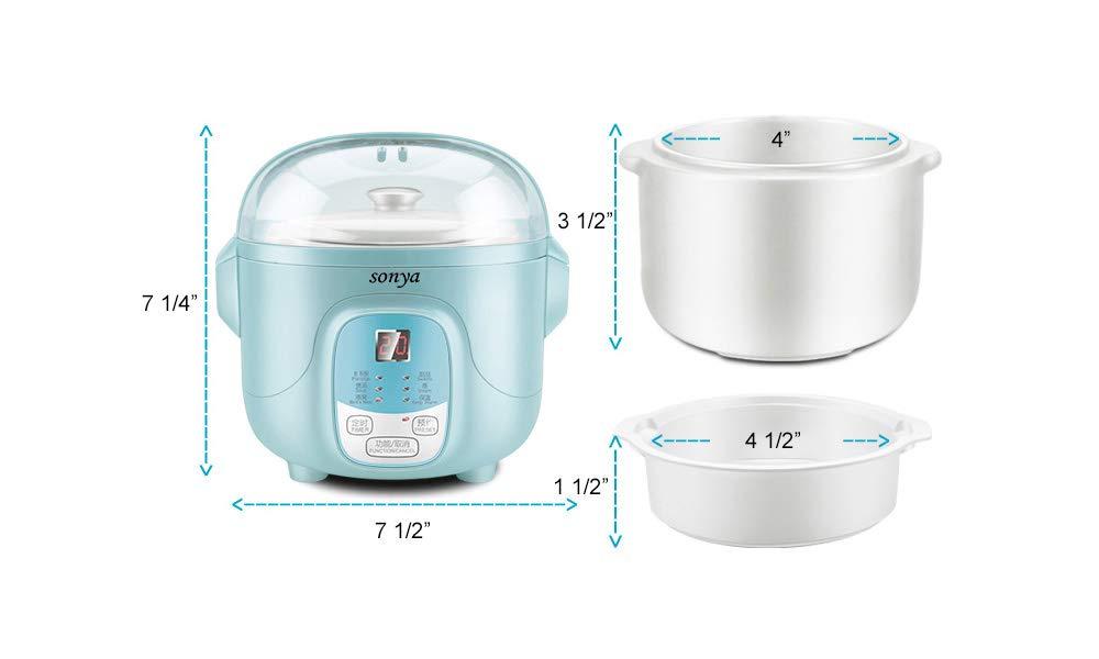Bonus Pack Sonya Ceramic Pot Smart Electric Slow Stew Pot SY-DGD8B Baby Blue