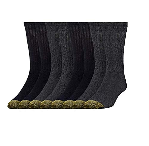 Gold Toe Men's Dress Crew Socks Cotton Perfect Fit Kensington Collection 4 or 8 Pack (Black - Grey, 4)