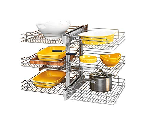 Rev-A-Shelf 15 in Three-Tier Blind Corner Organizer Soft -Close, Chrome
