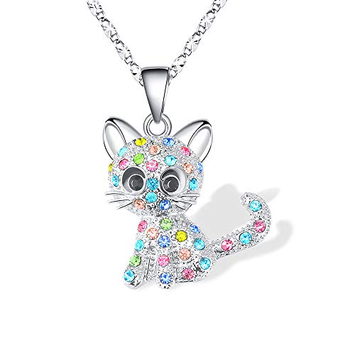 Lanqueen Kitty Cat Pendant Necklace Jewelry for Women Girls Kids, Cat Lover Gifts Daughter Loved Necklace 18+2.3 inch Chain,Color