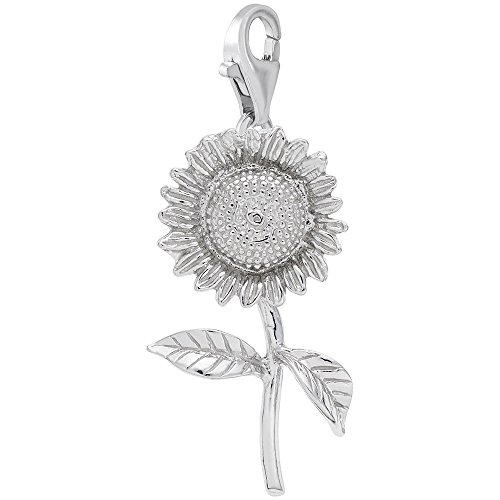 Sunflower Clasp - Sterling Silver Sunflower Charm With Lobster Claw Clasp, Charms for Bracelets and Necklaces