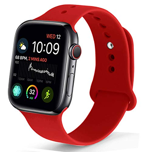 (NUKELOLO Sport Band Compatible with Apple Watch 42MM 44MM, Soft Silicone Replacement Strap Compatible for Apple Watch Series 4/3/2/1 [Red Color in M/L Size])