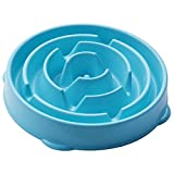 Pet Pizza Design Anti - Chocking Interactive Slow Fun Feeder Soft Silicone Bowl Stopping Bloat from Eating too Fast for Small to Large Dogs (Blue)