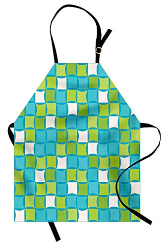 VCFUN Blue Green Adjustable Bib Aprons, Tile with Abstract Squares Sixties Seventies Style Mosaic on Blue Backdrop Women/Men Kitchen Apron with Extra Long Ties for Chef Cooking Baking, Small