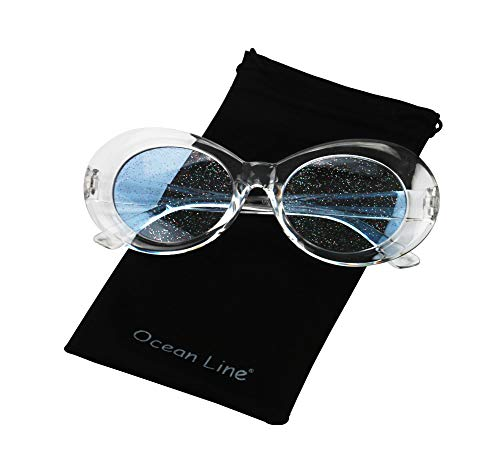 Bold Retro Oval Mod Thick Frame Sunglasses Round Lens Kurt Cobain Clout Goggles (clear white blue)