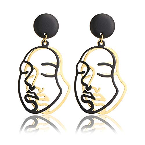 Top Plaza Face Abstract Gold Fun Statement Dangle Drop Earrings Fashion Hollow Face Hand Shape Hoops Stud Earrings for Women Teens Girls (#9)