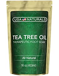 Tea Tree Oil Foot Soak With Epsom Salt-Deep Tissue Therapy for Sore, Cracked Feet-Helps Fungal Nail Infection & Athletes Foot-Eight Essential Oils and Salts for Healthy, Soft Feet (Tea Tree Foot Soak)