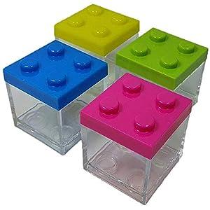 12 X SCATOLINA PORTACONFETTI PLEXIGLASS MATTONCINI Costruzioni Assortiti Verde Giallo Blu Fuxia  LEGO