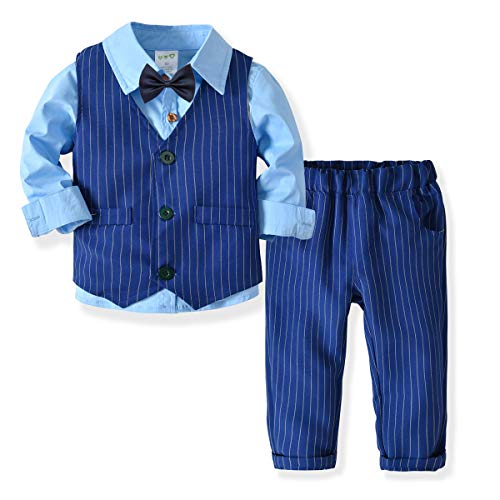 Little Boys Gentleman Formal Suit Set with Vest, Pant, Shirt, and Bow Tie,Baby Boys Long Sleeve Wear Weding 4Pcs Outfit (Blue, 120/5-6T)