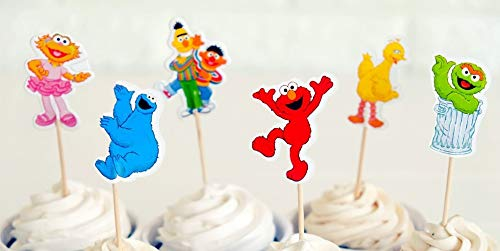 PAPWOO Sesame Street Party Supplies 72pcs/set Elmo Bert Big Bird Candy Bar Cupcakes Toppers Kids Baby Birthday Party Decorations Decorating Tableware -