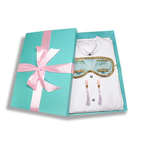 Audrey Hepburn Breakfast at Tiffany's Complete Sleep Set Holly Golightly Costume Sleep Mask, Ear Plugs and Tuxedo Sleep Shirt (Small, with Gift Box) -