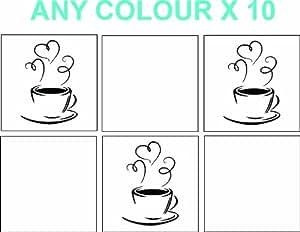 Pegatinas de vinilo de dise o de taza de caf para for Pegatinas baldosas cocina
