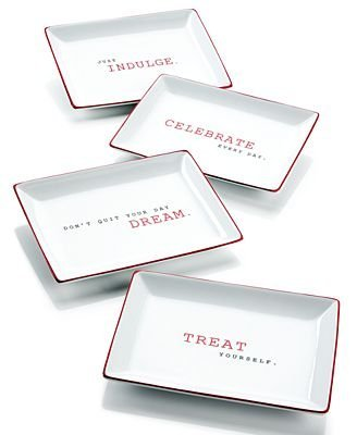 The Cellar Red Sentiments Appetizer Plates, Set of 4
