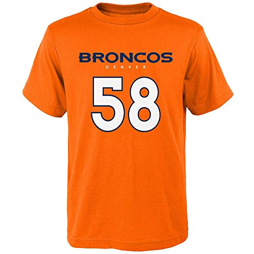 Ladies Broncos Denver Player - Outerstuff Denver Broncos Von Miller #58 Mainliner Player T-Shirt Orange Youth (8-20) (Medium)