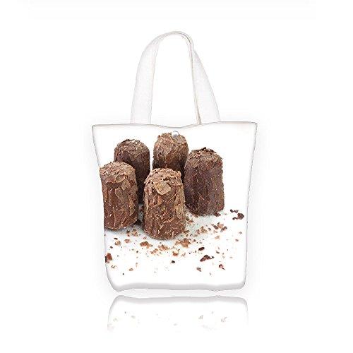 aolankail fancy chocolate truffles on white surface Fashion canvas Print Tote Handbag Foldaway Travel Bag Shopping bags