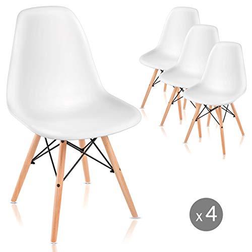 Mc Haus Lot de 4 chaises Nordicas Blanc pour Salle à Manger ou extérieur, 61 x 61 x 53 cm