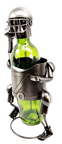 Atlantic Collectibles Star Quarterback Football Player Hand Made Metal Wine Bottle Holder Caddy Decor Figurine 13