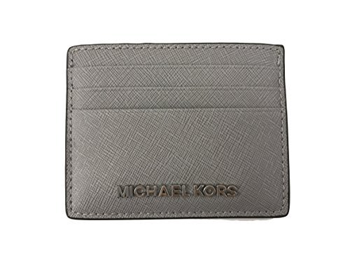 Michael Kors Jet Set Travel Leather Credit Card Holder Case in Pearl Grey