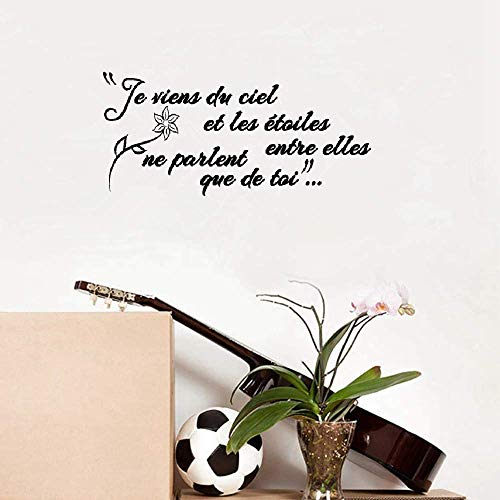 Wall Stickers Decals Art Words Sayings Removable Lettering French Je Viens Du Ciel Et Des Étoiles Entre Eux Pour La Chambre I Come from The Sky and The Stars Between Them for Bedroom