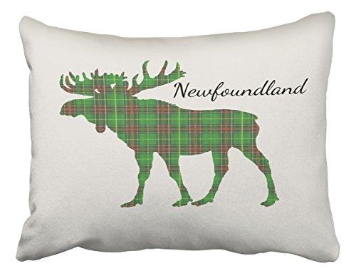 Tartan Newfoundland (Emvency Pillowcases Xmas Decoration Cute Tartan Moose Newfoundland Pillow Case Cushion Cover Case Throw Pillow cases Standard 20x26 Inches)