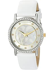 Akribos XXIV Womens AK791WT Crystal-Accented Silver-Tone Watch with White Leather Band