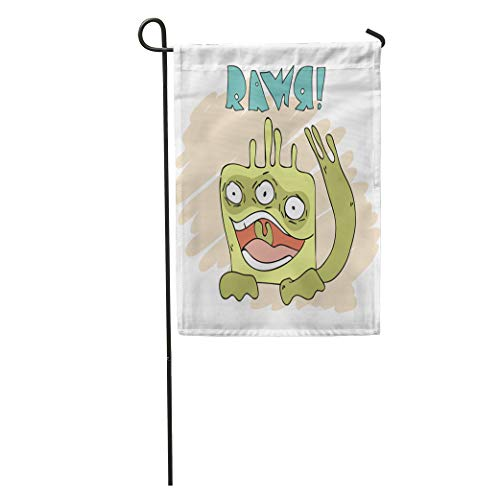 Rawr Face - Semtomn Garden Flag Colorful Rawr Crazy Monster Green Alien Animal Baby Bash Big Home Yard House Decor Barnner Outdoor Stand 28x40 Inches Flag