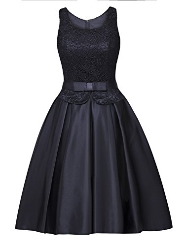 Tanpell Womens A Line Lace Ribbon Knee Length Short Evening Party Dresses Black US6 ()